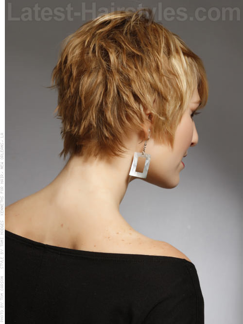 Blonde Textured Beachy Pixie Short Haircut Back View