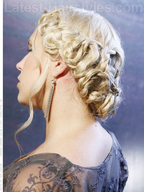 Braided Pale Blonde Glamorous Long Hair Updo - Back View
