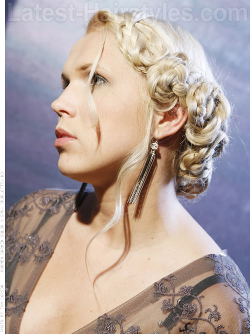 Braided Pale Blonde Glamorous Long Hair Updo