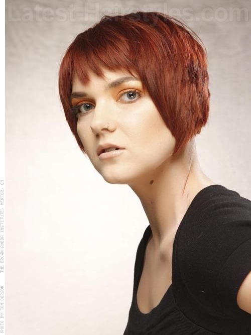 Convex Layered Bob Auburn Choppy Cut