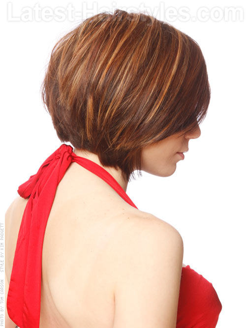 Face Framing Bob With Forward Swept Layers For Heart-Shaped Faces - Back View