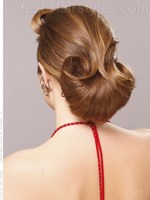 Flared Bun Dramatic Long Hair Updo Back View