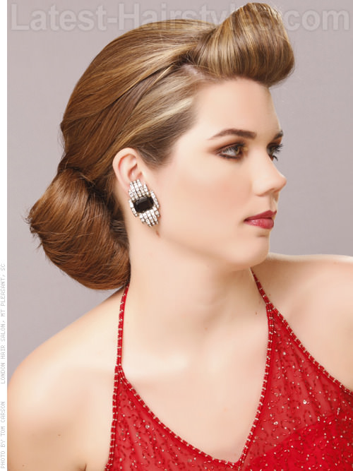 Flared Bun Dramatic Long Hair Updo Retro Glamour