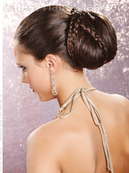 Goddess Bun Dramatic Braided Long Hair Style Back View