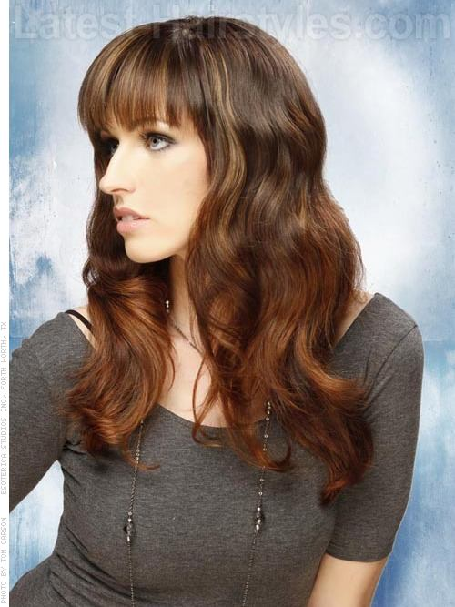 Wavy Long Brunette Hair with Long Fringey Bangs Side View - Haircuts for Long Hair