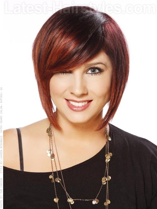 Hidden Stack Shaped Cut Brunette Style with Red Highlights