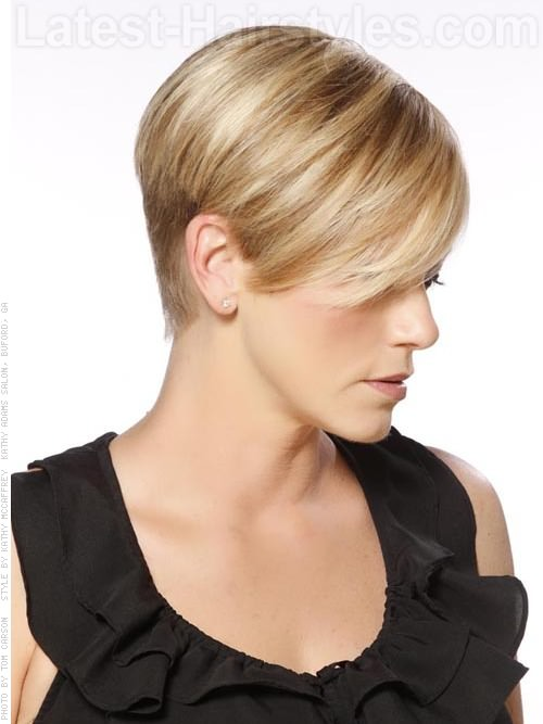 High Profile Cute Blonde Short Cut Over The Ears - Side View
