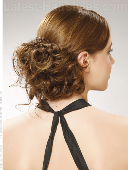 Holiday Long Hair Updo Glamorous Low on Neck Style Back View