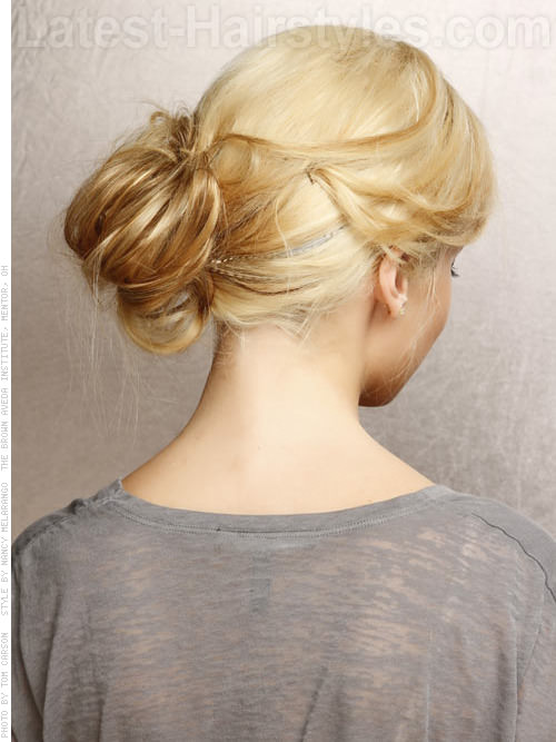 Messy Chic Loose Blonde Long Updo Back View