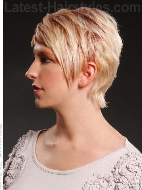 Pale Blonde Sculpted Pixie Haircut with Longer Bangs Side View
