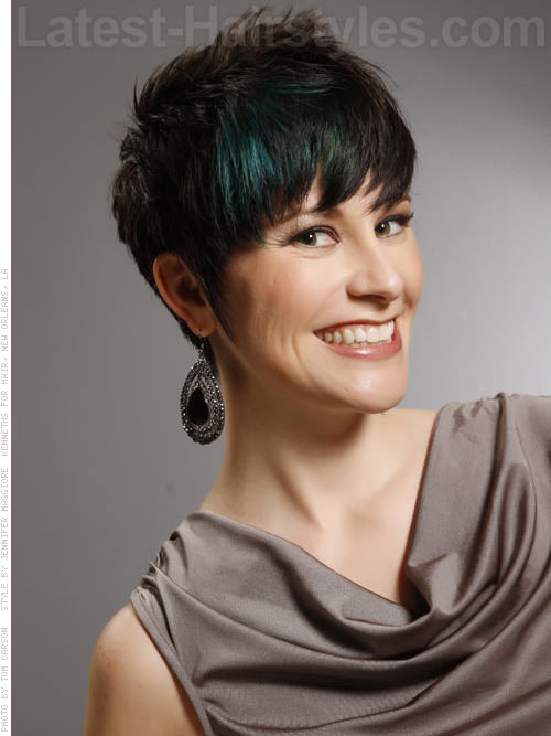Cute Short Brunette Pixie Haircut with Blue Peacock Highlights - Front View
