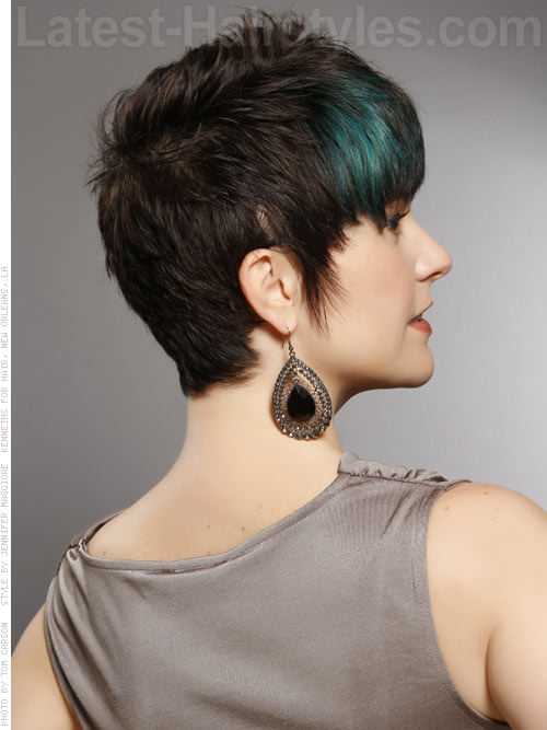 Cute Short Brunette Pixie Haircut with Blue Peacock Highlights