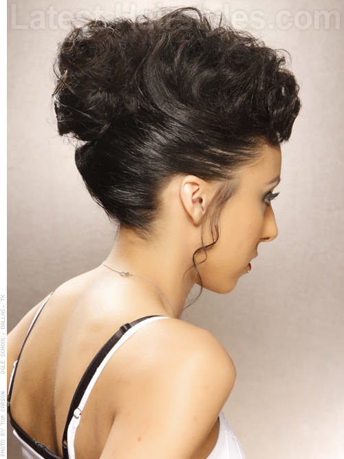 Pinup Style Easy Fun Updo for Long Hair - Back View