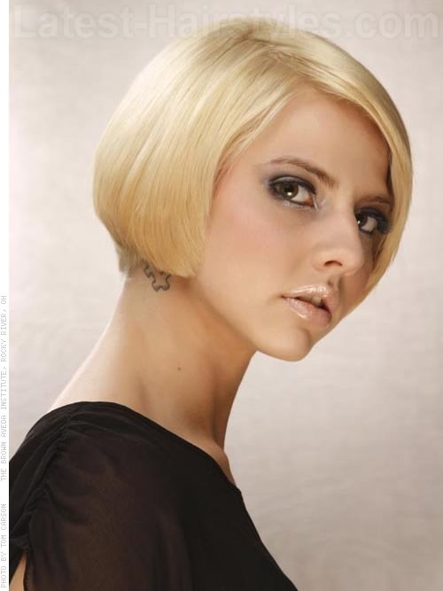 Short Blonde Bob Dramatic Haircut Side View