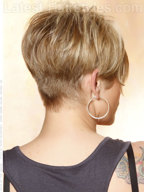 Short Blonde Wispy Pixie Sculpted Back
