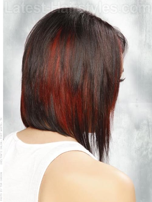 Side Parted Dark Brown Hair Face Shaping Layers - Red Highlights