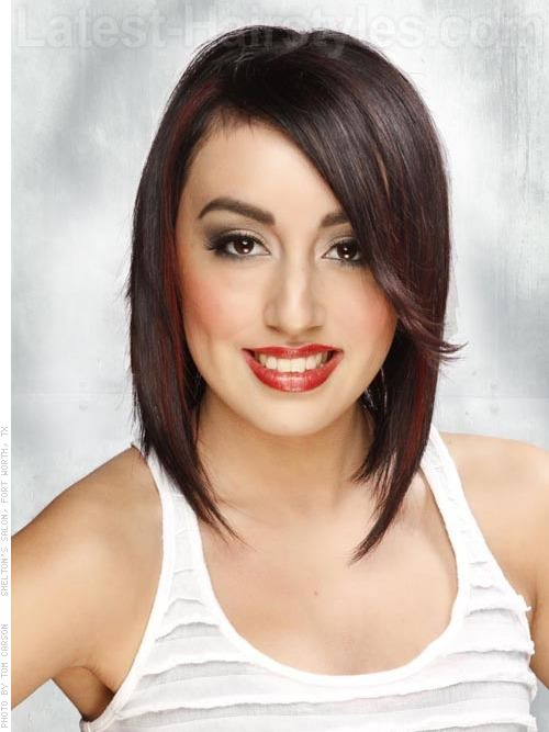 Side Parted Dark Brown Hair Face Shaping Layers