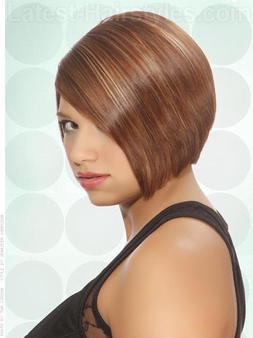 Sleek and Shiny Caramel Colored Bob Side View