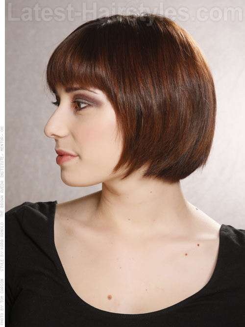 Sleek Brunette Cute Geometric Short Haircut Side View