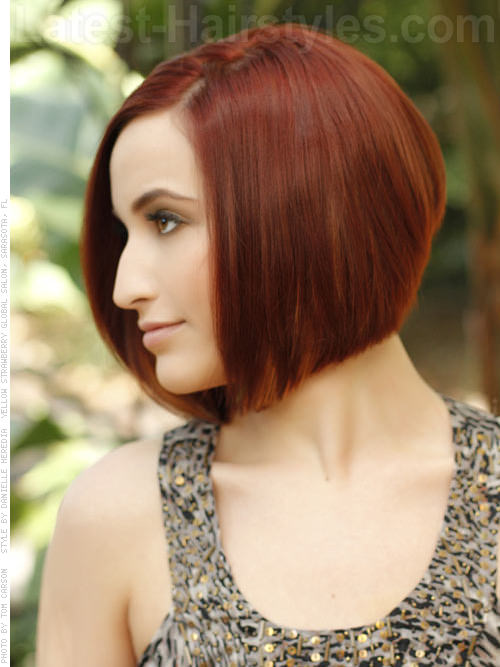 Sleek Red Bob Hairstyles For Oval Faces side view