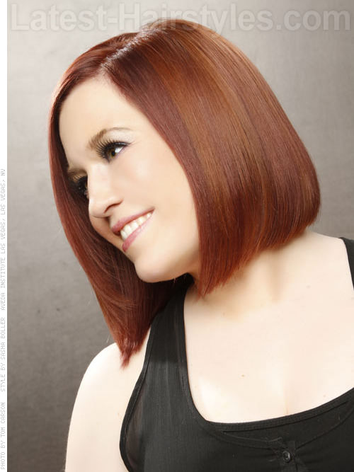 Smooth Shiny Longer Auburn Bob Short Haircut