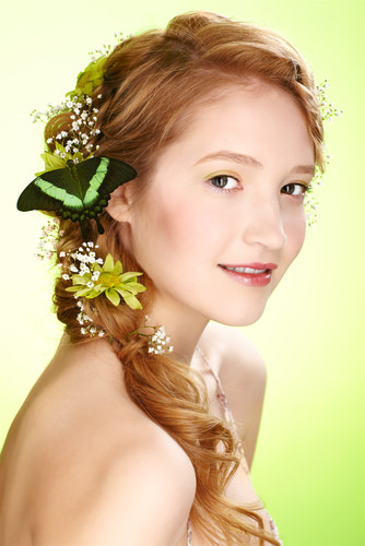 Long Wavy Rope Braid Hairstyle with Flowers
