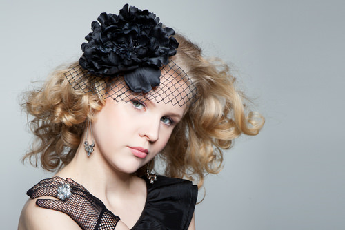 Medium Curly Hairstyle with Black Lace