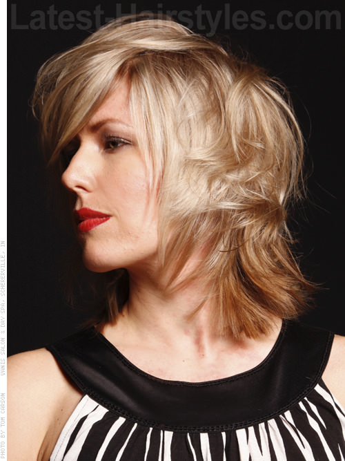 Fun Textured Blonde Style with Tapered Layers - Side View