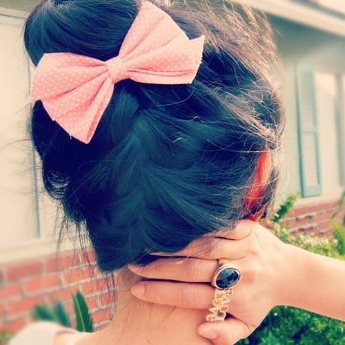 French braid with a bow