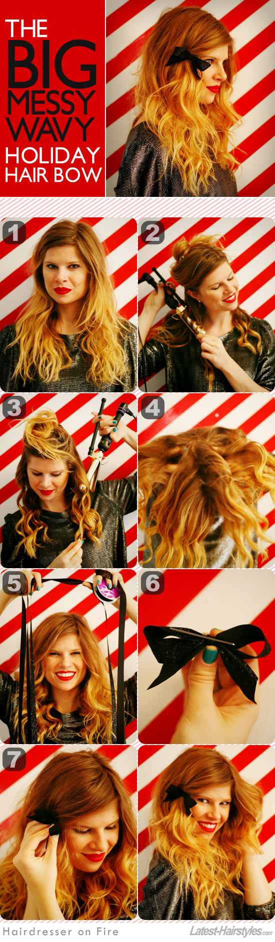 holiday hair tutorial with bow