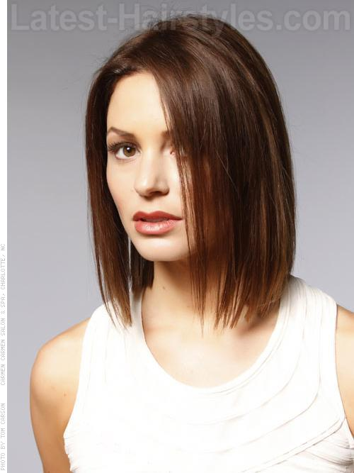 Long Face Hairstyle Straight Bob Casual Brunette
