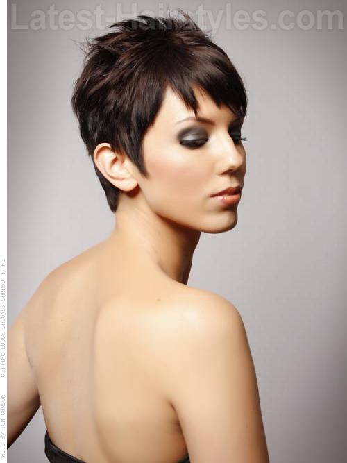 Perfect Pixie Fun Brunette Piecey Long Face Style - Side View