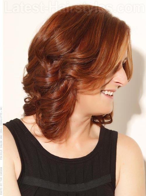 Pumpkin Passion - Loose Auburn Wavy Hairstyle with Long Layers - Side View