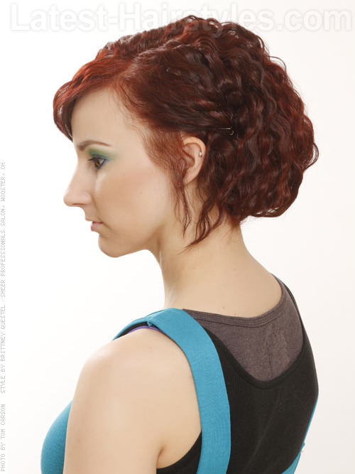 Red Crimped Short Wavy Hair Style - Side View