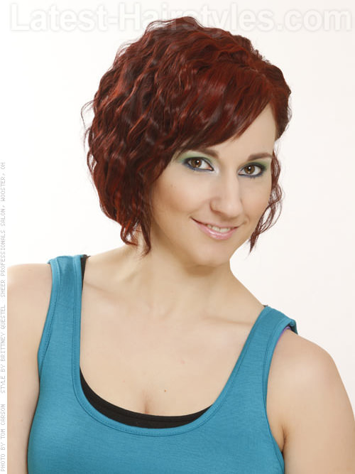 Red Crimped Short Wavy Hair Style