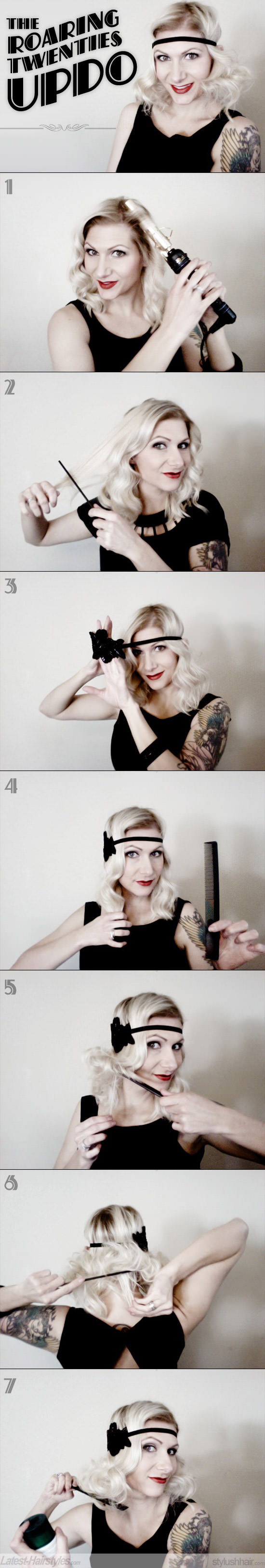 roaring twenties vintage updo hair tutorial