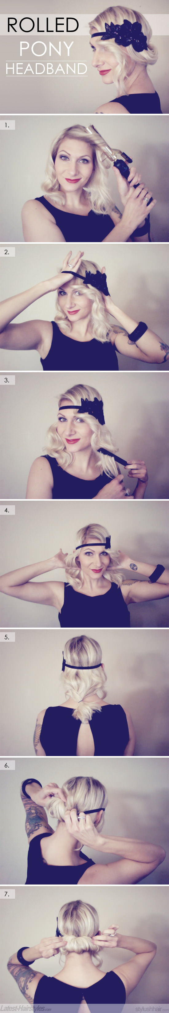 rolled ponytail with a headband vintage updo hair tutorial