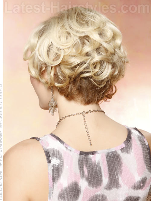 Short Blonde Layered Style with Lots of Volume - Back View