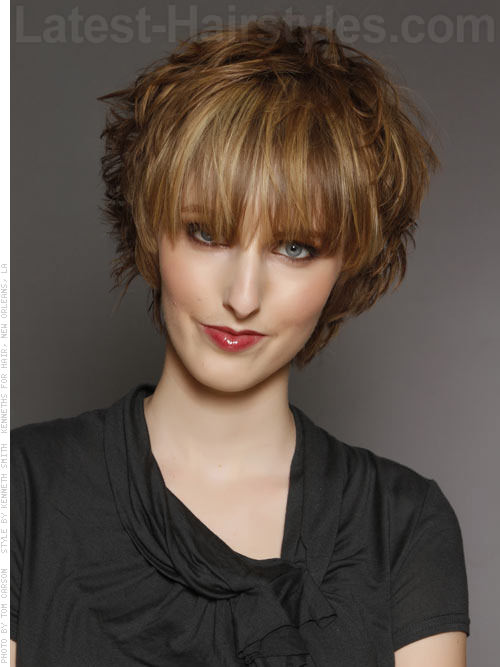 Short Fun Messy Long Face Style with Long Bangs