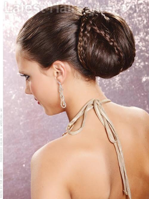 Contemporary Chignon Prom Updo with Braids