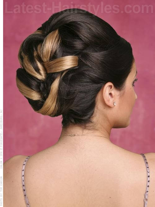 Chocolate and Vanilla Swirls Updo For Prom