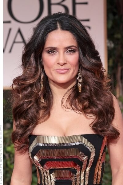 Salma Hayek Long Prom Hairstyle