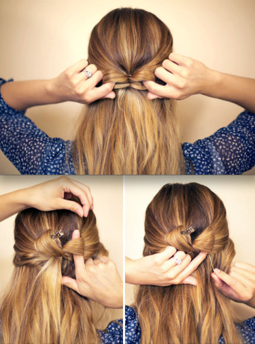 half up hair bow hairstyle tutorial