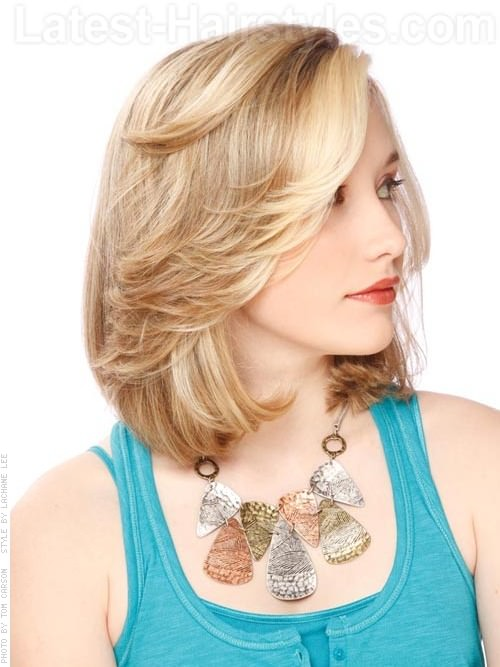 Feathered Bob Hairstyles Medium Length Hair Blonde bob medium style ...