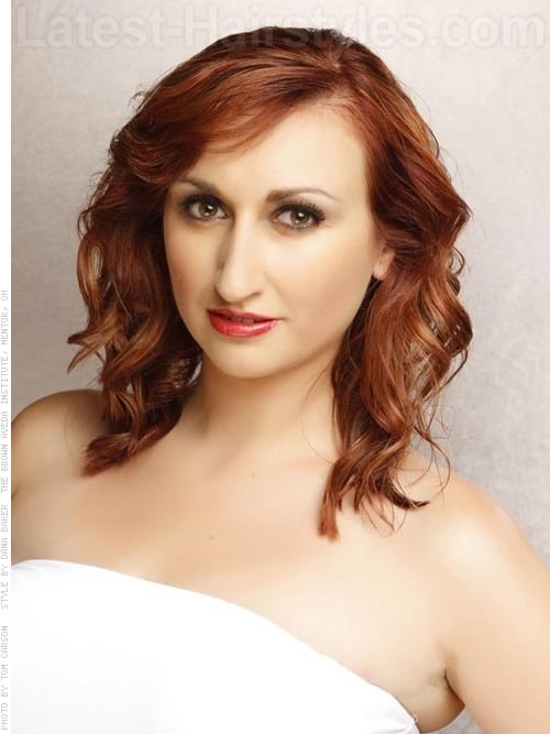 Copper Curls Medium Hairstyle For Round Face