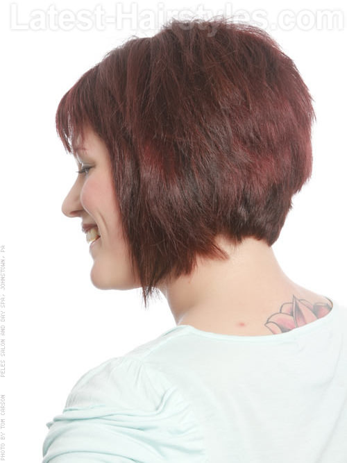 Edgy Bob Hairstyle For Round Faces - Back View
