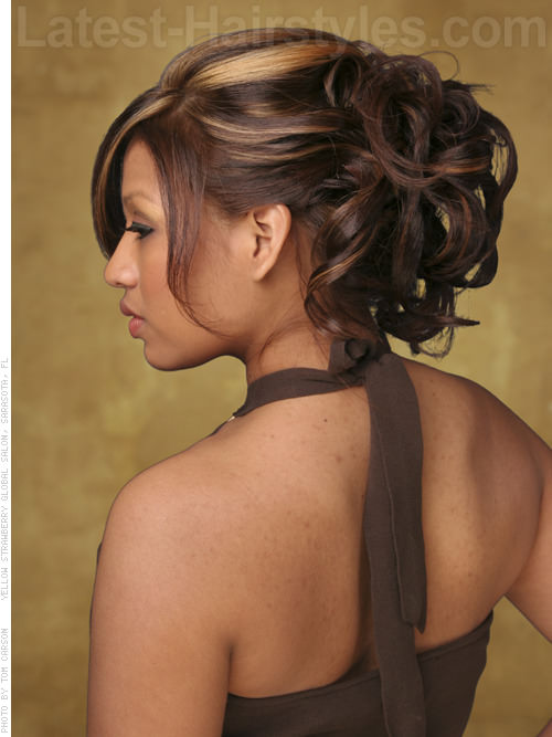 Elegant Updo Cute and Messy Round Faces Hairstyle - Back View