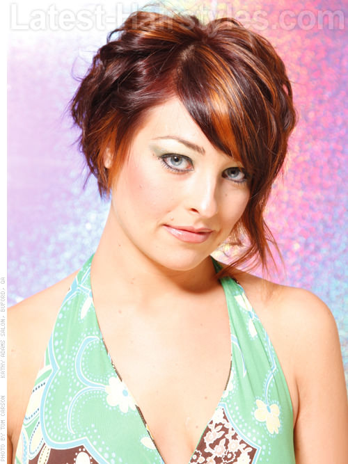 Full Asymmetrical Chin Length Bob with Front Pieces and Highlights - Angled View