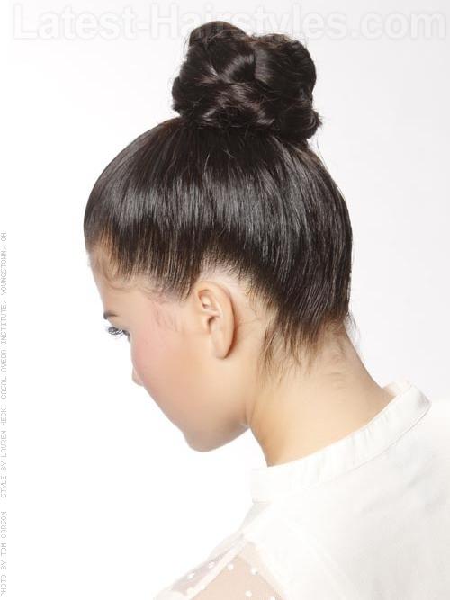 Kourtney Kardashian Inspired Bun Braided Texture Back View