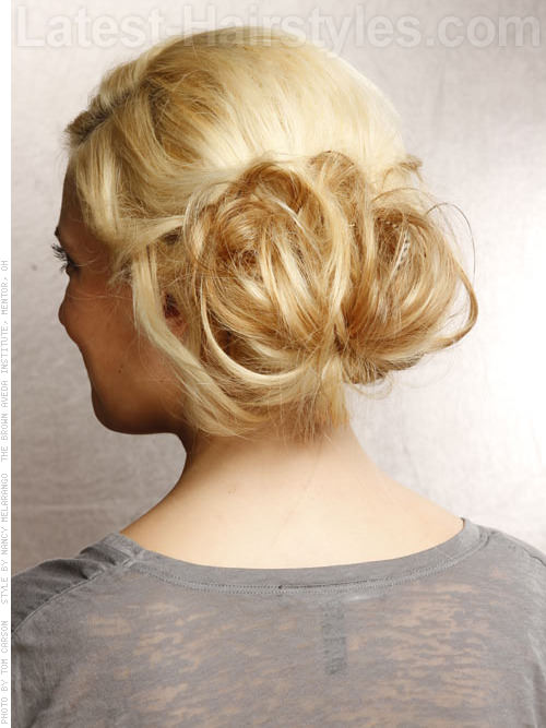 Mature Messy Bun Easy Prom Hairstyle Back View